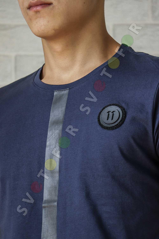 Мужская футболка Duliu 17105-2 темно-синяя хлопковая с полосой