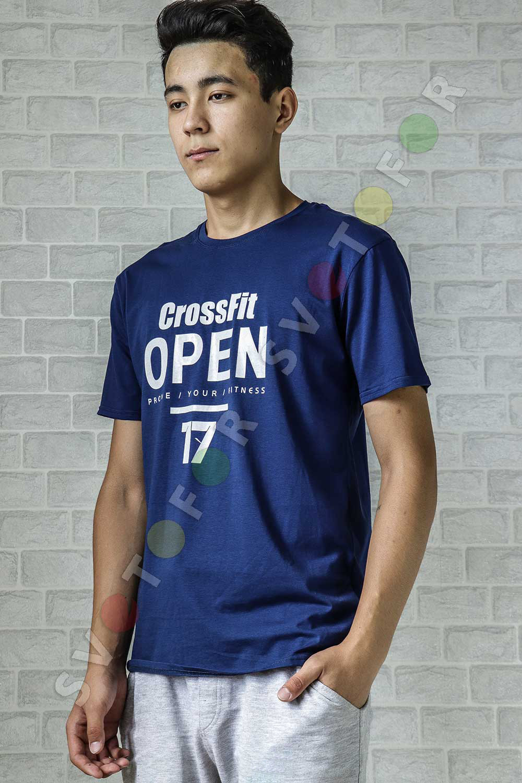 Мужская футболка  a-015-5 темно-синяя хлопковая с надписью
