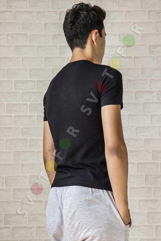 Мужская футболка  a-03-3 черная хлопковая с надписью