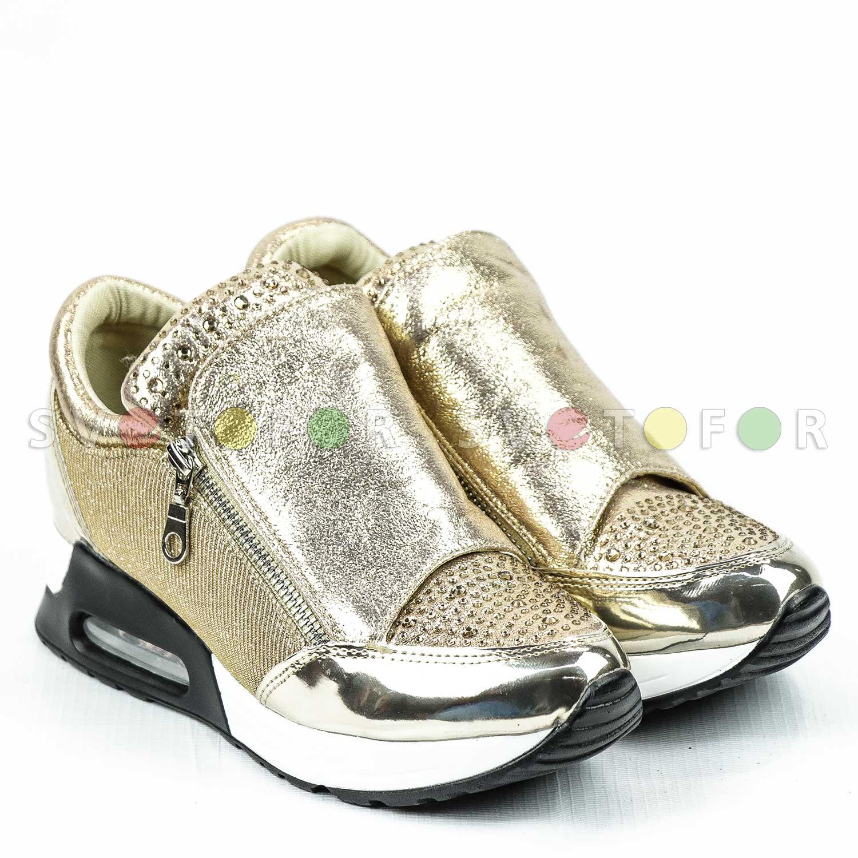 Кроссовки Glamour 9719-7 матерчатые золотистые