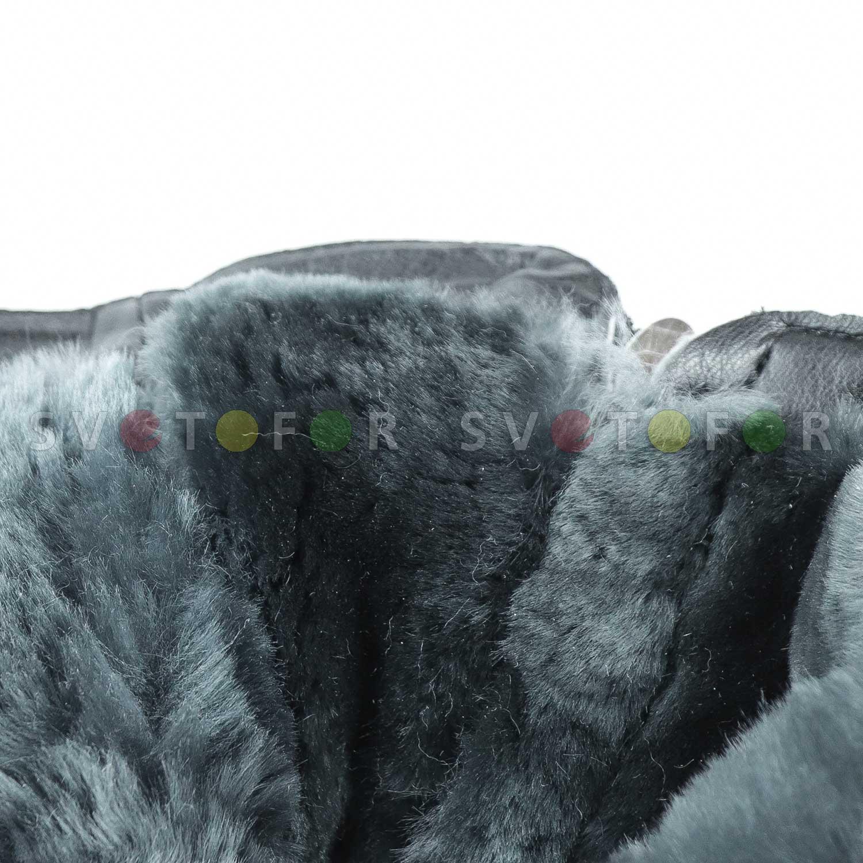 Полусапожки SHOES.KG кожаные черные с натуральным мехом