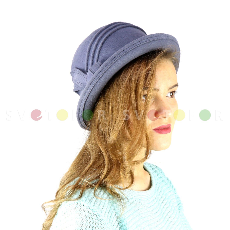 Шляпка Гримуар 1005MT фетр серо-голубая