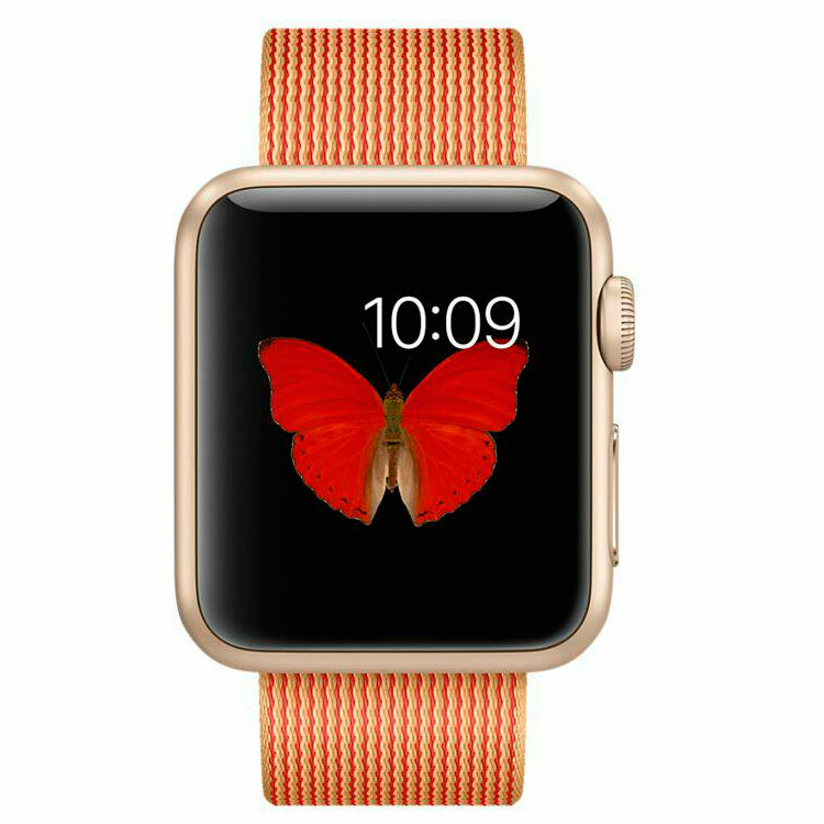 Умные часы Apple Watch Sport MMF52 38mm Gold Aluminium Case with Gold/Red Woven Nylon