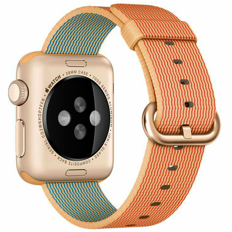 Умные часы Apple Watch MMF52 38mm Gold Aluminium Case with Gold/Red Woven Nylon