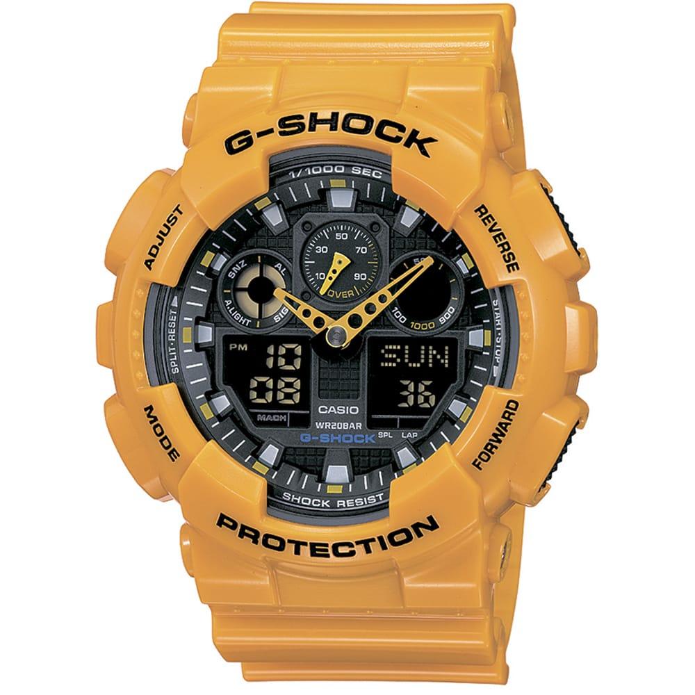 Унисекс японские наручные часы Casio G-Shock GA-100A-9A с хронографом