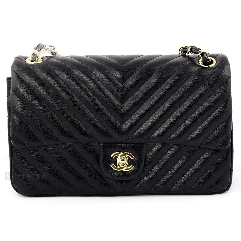Сумка женская Chanel Classic в черном цвете с узором-елочкой