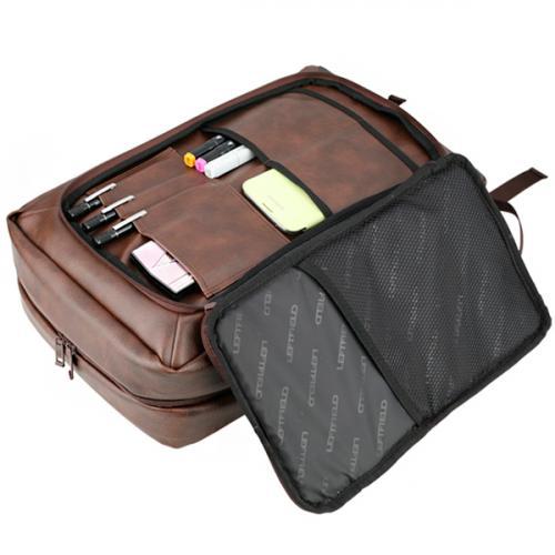 Сумка рюкзак Leftfield 627 из прессованной кожи коричневый