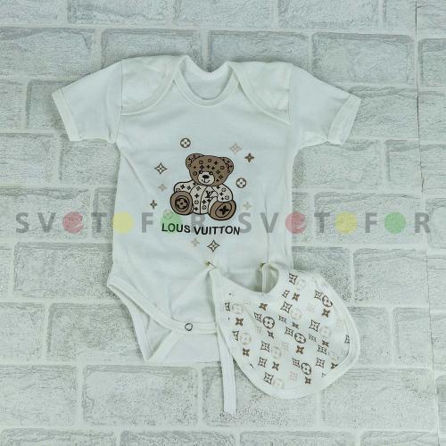 Детский набор Bebetto 1008 белый с рисунком на груди для новорожденных