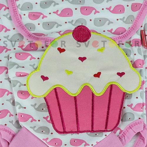 Детский набор Minimax 984 белый с розовым кроем в принт для новорожденных