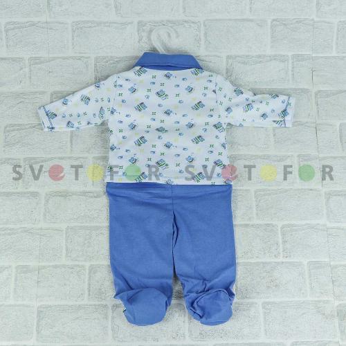 Детский набор Rush baby 972 белый с синим клетчатым кроем для новорожденных