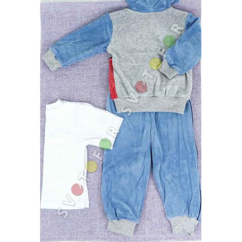 Детский спортивный костюм 1012 синий хлопковый с надписью для мальчиков