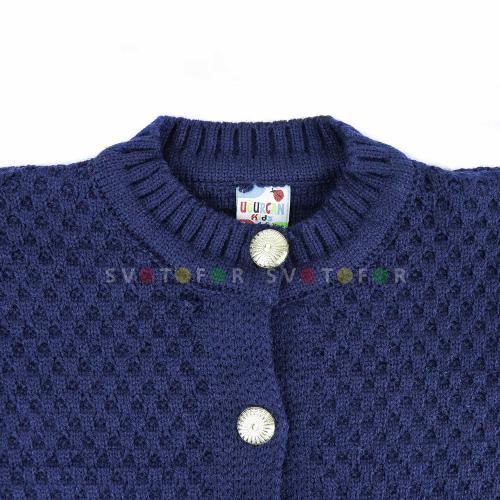 Детские кардиганы UGURCAN kids 43690 темно-синие вязаные для девочек