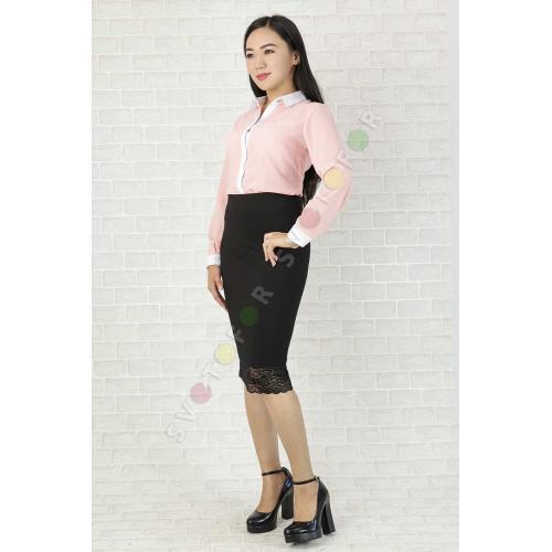 Женская рубашка 43831 светло-розовая шифоновая с белым воротом