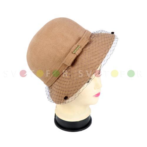 Шляпка Гримуар 108AMT-B фетр темно бежевая