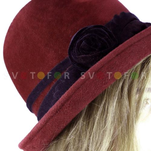 Шляпка Гримуар 51BCB фетр темно бордовая