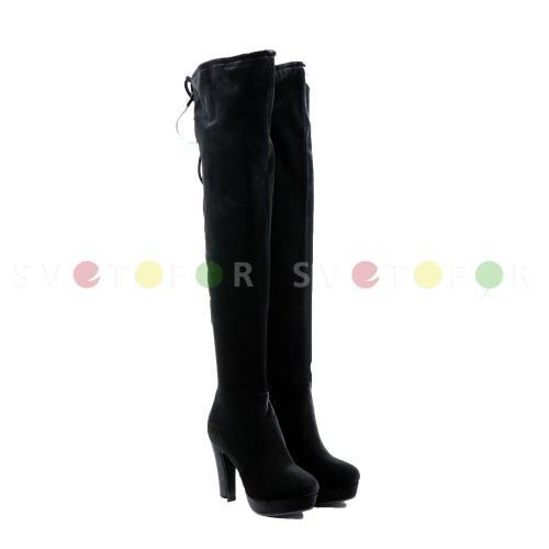 Ботфорты Fashion Party 8136-M7050 велюр черные