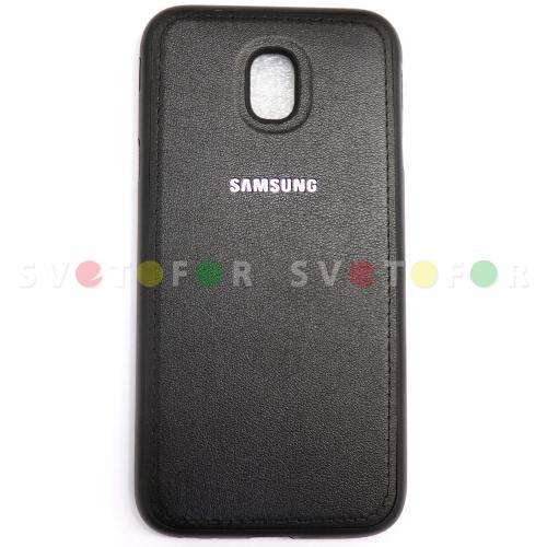 Чехол для Samsung Galaxy J5 Pro (2017) SM-J530 толстый силиконовый черный с текстурой под кожу и металлической вставкой