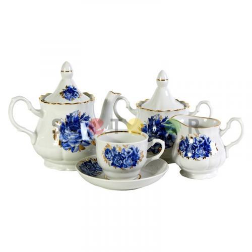 Беларусь фарфор чайный набор 15пр. Синие розы 1С0356Ф34