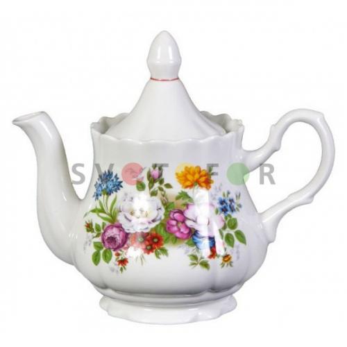 Беларусь фарфор чайник 800см3 Букет цветов 2С0292/1Ф34