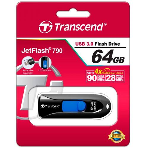 Флеш картa Transcend JetFlash 790K 64Gb USB 3.1/3.0 черный