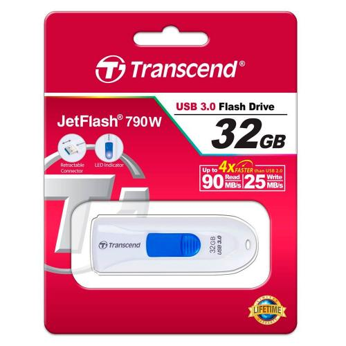 Флеш картa Transcend JetFlash 790W 32Gb USB 3.1/3.0 белый