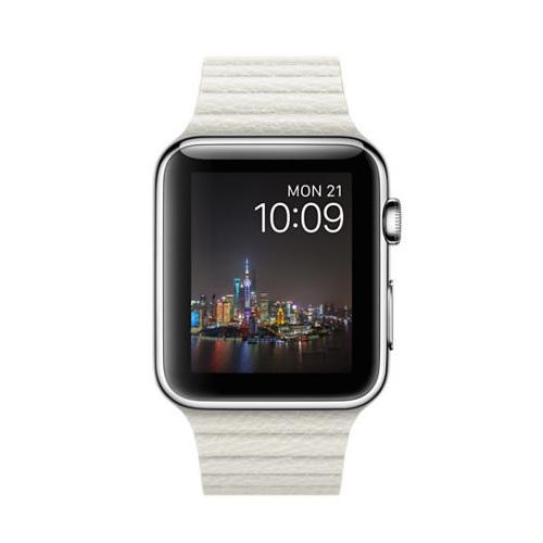 Умные часы Apple MMFW2 42mm Stainless Steel Case with White Leather Loop-Large Size Band