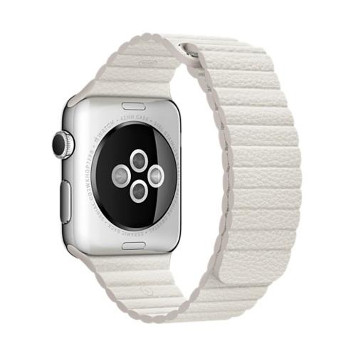 Умные часы Apple MMFW2 42mm Stainless Steel Case with White Leather Loop - Large Size Band