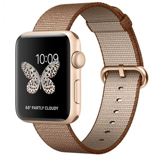Умные часы Apple Watch series 2 MNPP2 42mm Gold Aluminum Case with Toasted Coffee/Caramel Woven Nylon